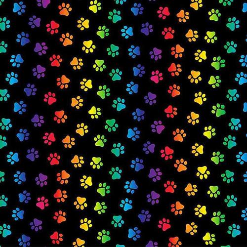 Timeless Treasures Pounce Neon Cat Paws 100% Cotton Remnant (49 x 112cm TT Pounce Neon Paws)