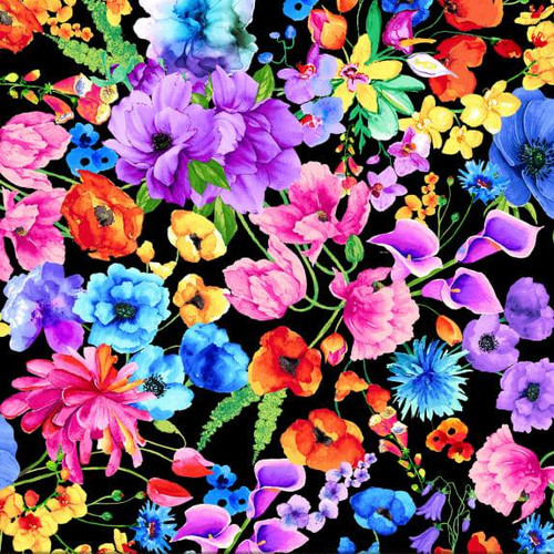 Timeless Treasures Day Dreaming Rainbow Floral Black 100% Cotton Remnant (50 x 54cm TT Day Dreaming 4)