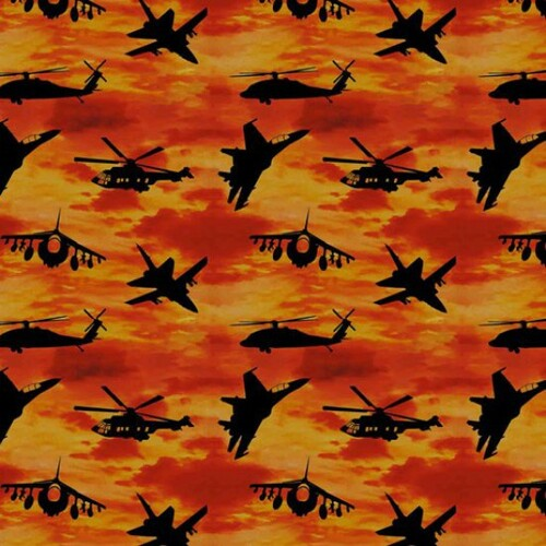 Kennard & Kennard Remembering Fighter Jets Aeroplanes Sunset Orange 100% Cotton Remnant (54 x 112cm Fighter Jets)
