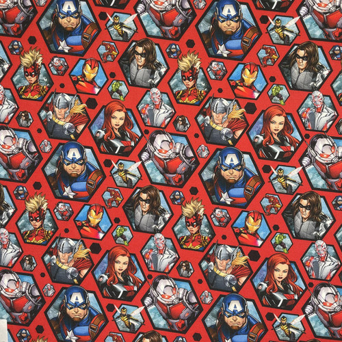Chatham Glyn Marvel Comics Avengers Characters Red 100% Cotton (CG Avengers 7)