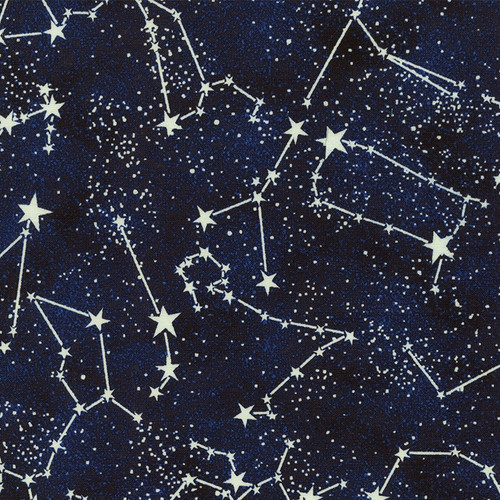 Timeless Treasures Constellations Stars Space Blue Glow In The Dark 100% Cotton Remnant (67 x 112cm TT Constellations)