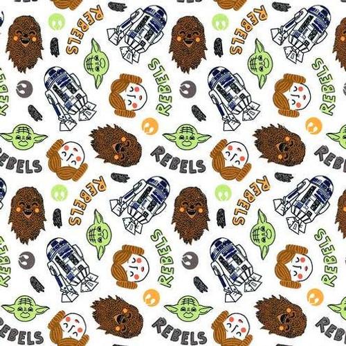 Star Wars Doodle Rebels White 100% Cotton Remnant (77 x 66cm Star Wars 33)