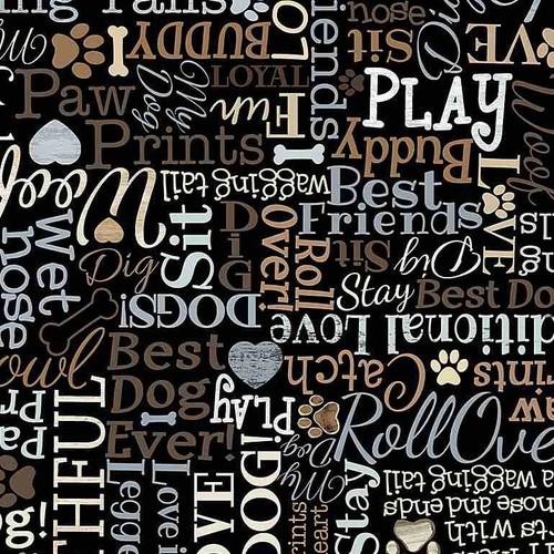 Timeless Treasures Words I Love My Dog Black 100% Cotton (TT My Dog Black)