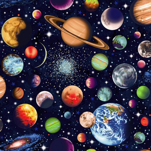 Solar System Scattered Planets Navy 100% Cotton (Solar System 1)