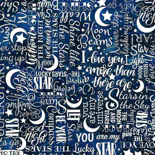 Timeless Treasures I Love You To The Moon And Back Stars Text White 100% Cotton (TT I Love You To The Moon 6)