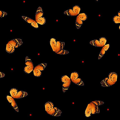 Timeless Treasures Wild Poppy Tossed Butterflies Black 100% Cotton (TT Wild Poppy 2)