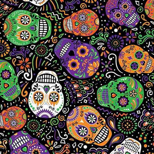 Timeless Treasures All Eyes On You Day Of The Dead Mardi Gras Skulls Black 100% Cotton (TT Mardi Gras Skulls)