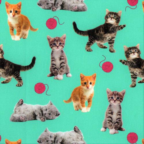 The Vintage Sweetheart Pet Kittens Green 100% Cotton Remnant (65 x 107cm VS Kittens)