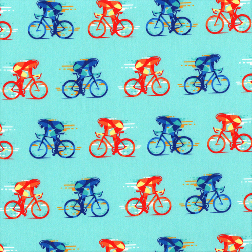 The Vintage Sweetheart Cycling Blue 100% Cotton Remnant (43 x 156cm VS Cycling)