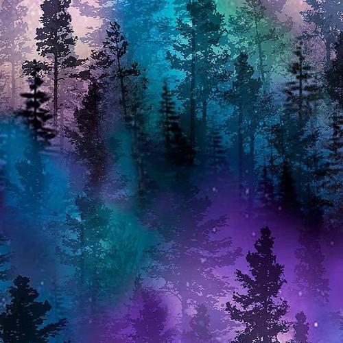 Timeless Treasures Northern Lights Aurora Trees Purple 100% Cotton Remnant (52 x 112cm TT Aurora Purple Trees)