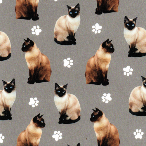 The Vintage Sweetheart Pedigree Siamese Cats Grey 100% Cotton Remnant  (45 x 156cm VS Siamese Cat)