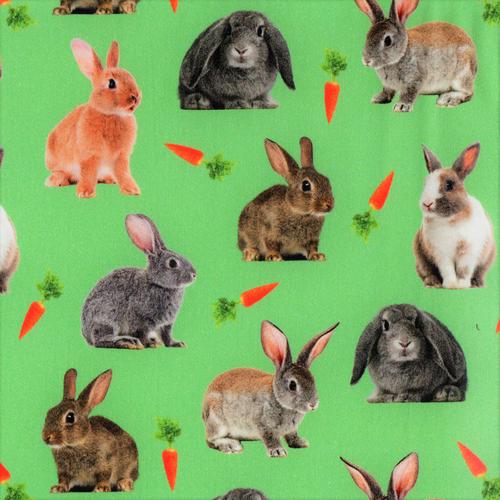 The Vintage Sweetheart Bunny Rabbits & Carrots Green 100% Cotton Remnant (46 x 156cm VS Bunny Rabbits)