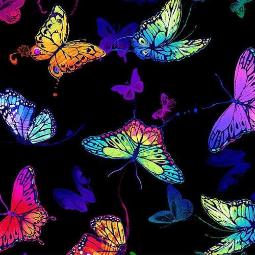 Timeless Treasures Rainbow Bright Multicoloured Butterfly Black 100% Cotton (TT Whirlwind Butterflies)