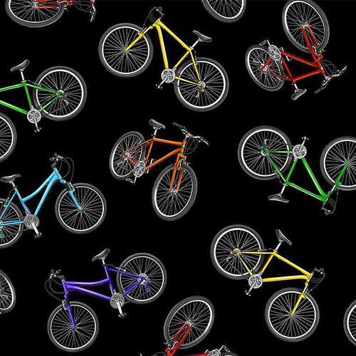 Timeless Treasures Move Your Body Tossed Colourful Bicycles Black 100% Cotton (TT Move Your Body 1)