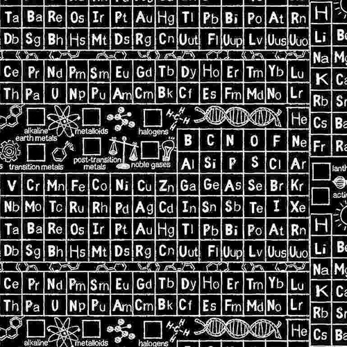 Timeless Treasures Math & Science Periodic Table Black 100% Cotton (TT Periodic Table)