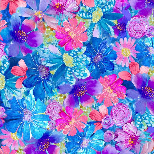 Timeless Treasures Painted Paradise Small Floral Paint Paradise Multicoloured 100% Cotton (TT Painted Paradise 1)