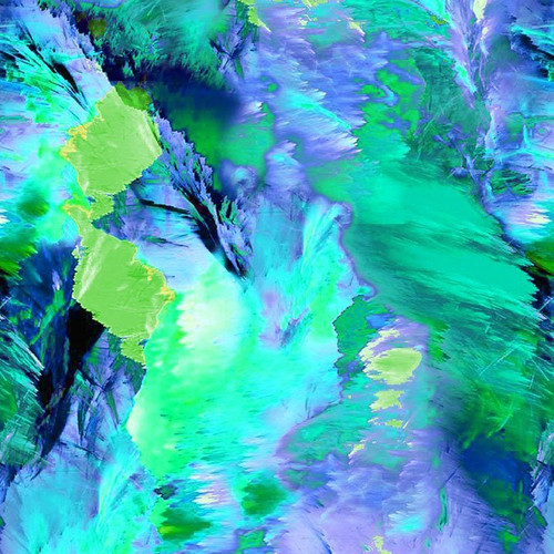 Timeless Treasures Painted Paradise Large Mountain Paint Strokes Green 100% Cotton (TT Painted Paradise 2)