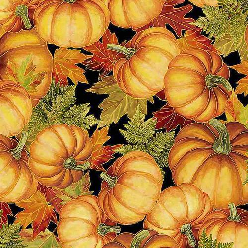 Timeless Treasures Fall Glory Metallic Packed Pumpkins Black 100% Cotton (TT Fall Glory 3)