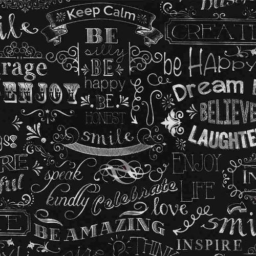 Timeless Treasures Chalkboard Happy Words Black 100% Cotton (TT Chalkboard Happy Words)