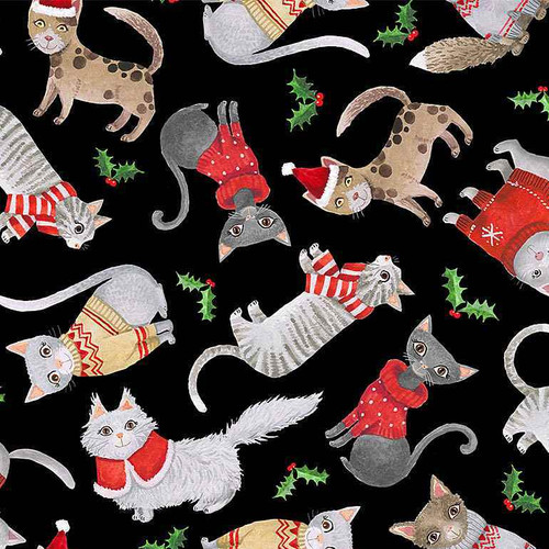 Timeless Treasures Purr-fect Holiday Cats In Christmas Sweaters Black 100% Cotton (TT Purr-fect Holiday)