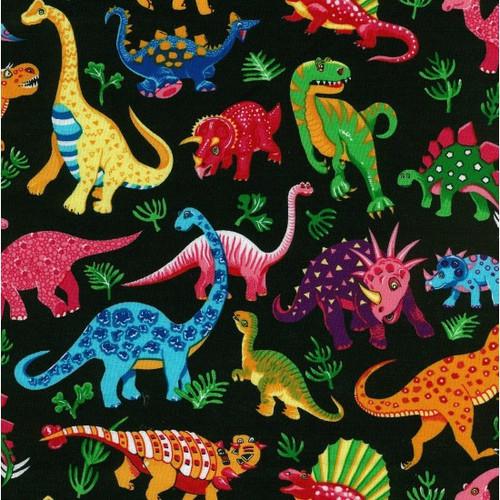 Black & Multicoloured Dinosaurs 100% Cotton (Dancing Dinosaurs - Black)