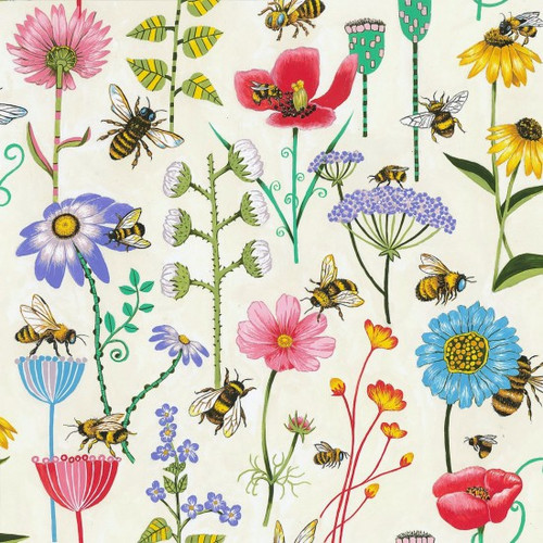 Bee & Floral Meadow Cream 100% Cotton  (Bee Meadow)