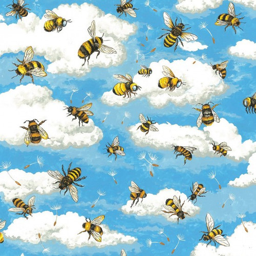 Bee, Sky & Clouds Blue 100% Cotton (Bee Haven)