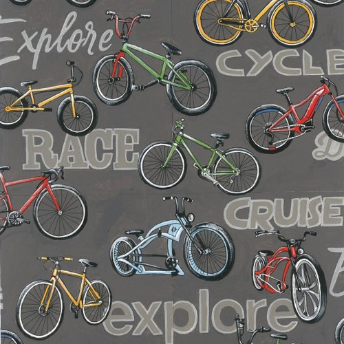 Nutex On Two Wheels Cycling Words Grey 100% Cotton (On Two Wheels 2)