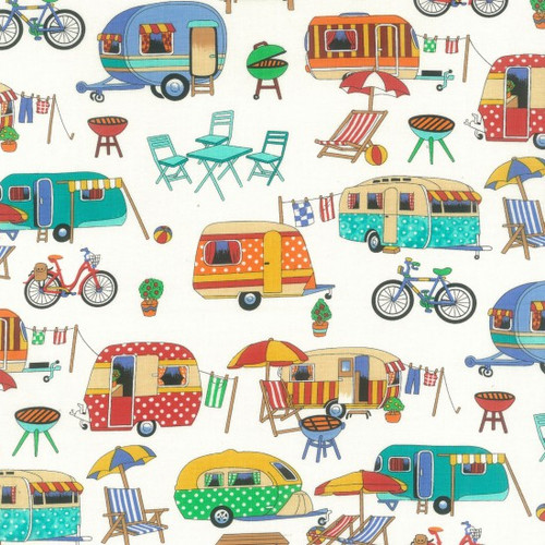 Cream & Multicoloured Retro Camper Van 100% Cotton  (Retro Camping)