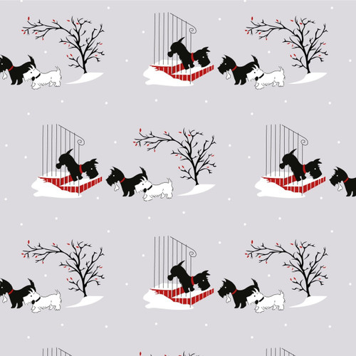 The V & A Collection A Christmas Wish Scotty Friends Grey 100% Cotton (A Christmas Wish 2)