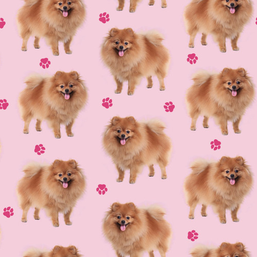 The Vintage Sweetheart Pomeranian Dogs Pink 100% Cotton Remnant (67 x 156cm VS Pomeranian)