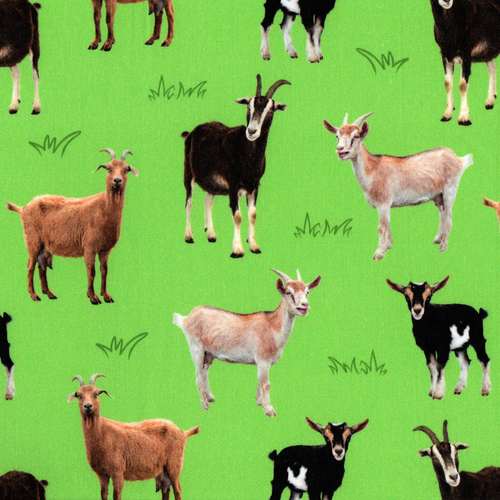 The Vintage Sweetheart Goats Field Green 100% Cotton Remnant (67 x 156cm VS Goats)