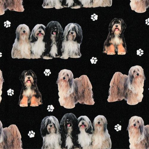 The Vintage Sweetheart Tibetan Terrier Dogs Black 100% Cotton Remnant  ( 35 x 156cm VS Tibetan Terrier )
