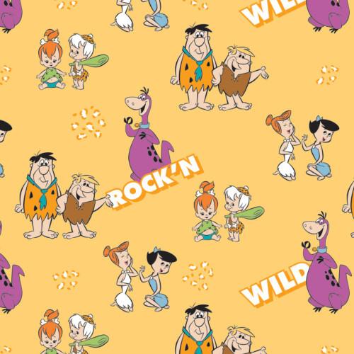 The Flintstones Gang's A Rock'n Yellow 100% Cotton Remnant ( 48 x110cm Flintstones 5)