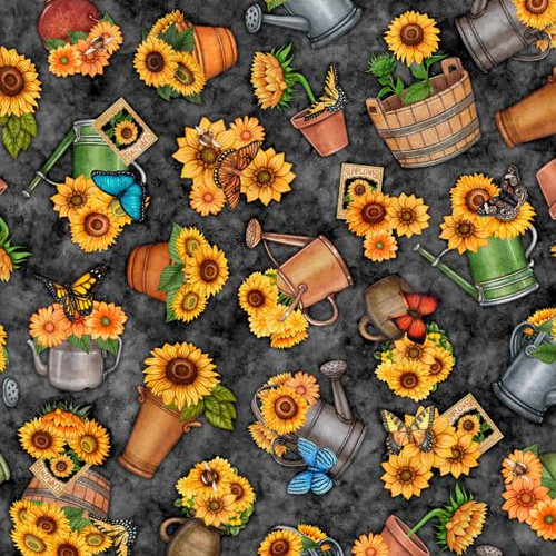 Quilting Treasures Always Face Sunshine Potted Sunflowers Charcoal Grey 100% Cotton Remnant  ( 55 x 112cmQT Always Face 8)