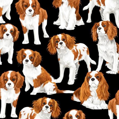 Timeless Treasures Spaniels Dog Black 100% Cotton Remnant (26 x 81cm TT Spaniels)