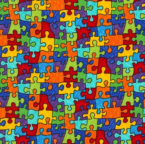 Timeless Treasures Puzzle Pieces Jigsaw 100% Cotton Remnant (34 x 112cm TT Puzzle Pieces)