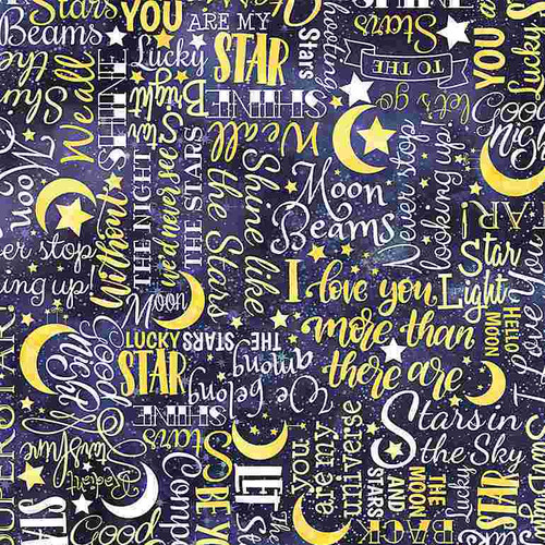Timeless Treasures I Love You To The Moon And Back Stars Text Blue 100% Cotton Remnant ( 33 x 112cm TT I Love You To The Moon 1)
