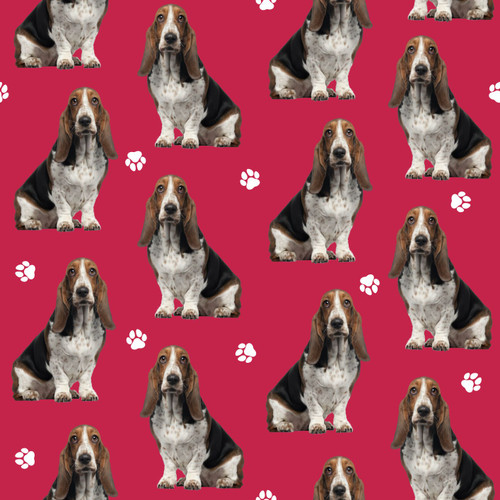 The Vintage Sweetheart Basset Hound Dogs Red 100% Cotton Remnant (43 x 156cm VS Basset Hound - 1 METRE PIECE)