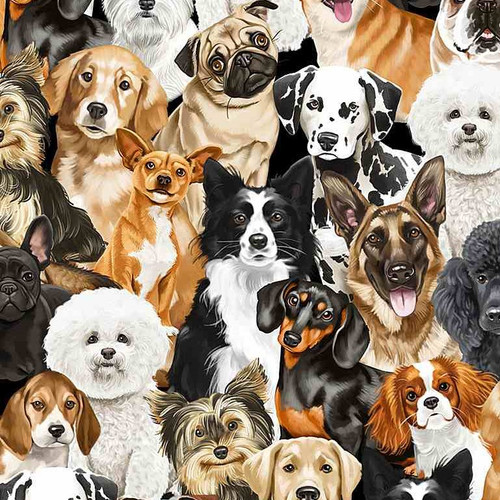 Timeless Treasures I Love My Dog Packed Realistic Dogs Multicoloured 100% Cotton Remnant (43x 112cm TT Realistic Dogs)