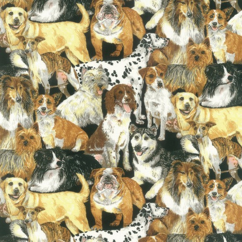 Various Breeds Of Dogs 100% Cotton  (Doggie Delight)