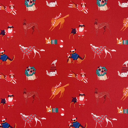 Chatham Glyn Christmas Dogs Red 100% Cotton Remnant (50 x 132cm CG Christmas 9)