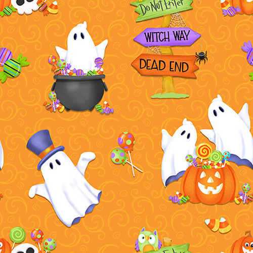 Henry Glass & Co. Glow In The Dark Glow Ghosts Tossed Ghosts, Pumpkins & Candy Orange 100% Cotton (HG Glow Ghosts 1)