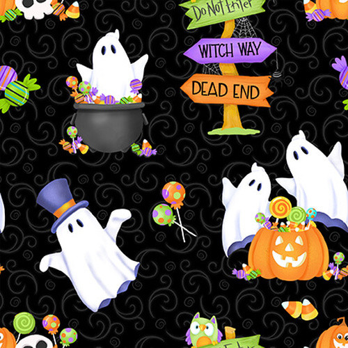 Henry Glass & Co. Glow In The Dark Glow Ghosts Tossed Ghosts, Pumpkins & Candy Black 100% Cotton (HG Glow Ghosts 2)