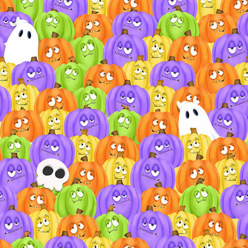 Henry Glass & Co. Glow In The Dark Glow Ghosts Stacked Pumpkins & Ghosts Multicoloured 100% Cotton (HG Glow Ghosts 3)