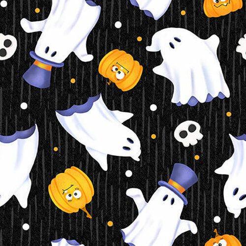 Henry Glass & Co. Glow In The Dark Glow Ghosts Tossed Ghosts Black 100% Cotton (HG Glow Ghosts 4)