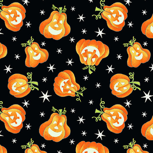 Henry Glass & Co. Glow In The Dark Here We Glow Tossed Pumpkins Black 100% Cotton (HG Here We Glow 3)
