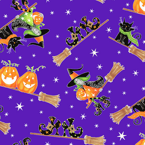 Henry Glass & Co. Glow In The Dark Here We Glow Flying Witches Purple 100% Cotton (HG Here We Glow 5)