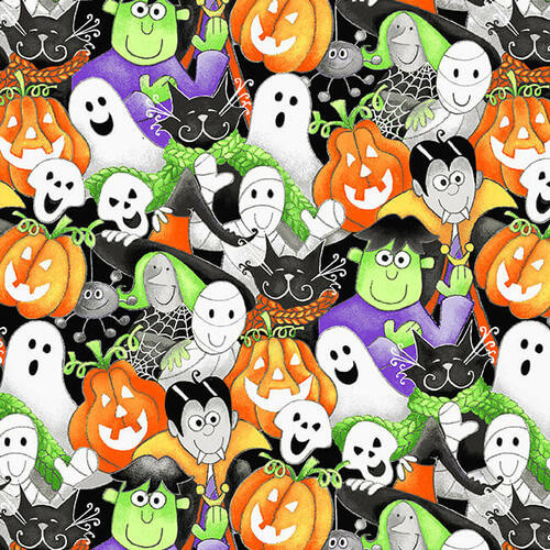 Henry Glass & Co. Glow In The Dark Here We Glow Halloween Packed Faces Multicoloured 100% Cotton (HG Here We Glow 6)