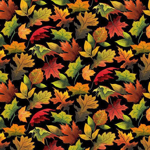 Blank Quilting Fall Delight Autumn leaves Black 100% Cotton (BQ Fall Delight 2)